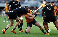 5th September 2021; Optus Stadium, Perth, Australia: Bledisloe Cup international rugby, Australia versus New Zealand; Angus Bell of the Wallabies is tackled high by Scott Barrett of the All Blacks