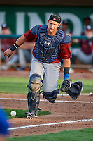 Chase Vallot (44) of the Idaho Falls Chukars on defense against the Ogden Raptors at Lindquist Field on August 29, 2018 in Ogden, Utah. Idaho Falls defeated Ogden 15-6. (Stephen Smith/Four Seam Images)