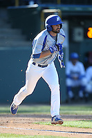 Dalton Rouleau (27) of the Hofstra Pride runs to first base during a game against the UCLA Bruins at Jackie Robinson Stadium on March 14, 2015 in Los Angeles, California. UCLA defeated Hofstra, 18-1. (Larry Goren/Four Seam Images)