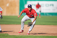Williamsport Crosscutters first baseman Darick Hall (46) during a game against the Auburn Doubledays on June 26, 2016 at Falcon Park in Auburn, New York.  Auburn defeated Williamsport 3-1.  (Mike Janes/Four Seam Images)