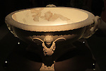 A marble wash basin from the bath house in lower Herodion, on display at the Israel Museum