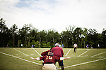 July 25, 2008. Durham, NC.. Started over 30 years ago, Beep Ball is baseball for the visually impaired. Played with an oversized softball that beeps, and bases that also make sound, the game has allowed people with varying degrees of visual impairment to participate in a team sport. All players are required to wear blacked out masks, to equalize the impairment and if the fielding team gets control of the ball before the hitting player reaches the base, an out is recorded. If the hitting player reaches the base first, a run is scored. There are only 2 bases, one to the left and one to the right, and the hitting player hears a tone after the hit is made, to add to the difficulty, telling them which base to run to.. A pinch runner points to the let and right bases as he readies himself to run if a hit is made.
