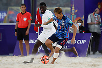 28th August 2021; Luzhniki Stadium, Moscow, Russia: FIFA World Cup Beach Football tournament; Semi final match Japan versus Senegal: Japan's Takaaki Oba competes with Raoul Mendy of Senegal, during the match between Japan and Senegal