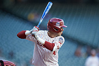 Brandon Zaragoza (4) of the Oklahoma Sooners at bat against the Arkansas Razorbacks in game two of the 2020 Shriners Hospitals for Children College Classic at Minute Maid Park on February 28, 2020 in Houston, Texas. The Sooners defeated the Razorbacks 6-3. (Brian Westerholt/Four Seam Images)