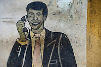 BURKINA FASO, Province Poni, Gaoua, wall painting as advertisement for phone shop / Wandmalerei als Reklame fuer Telefonladen