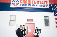 Campaign staffers and gun range employees wait before Texas senator and Republican presidential candidate Ted Cruz speaks at a Second Amendment Rally outside Granite State Indoor Range in Hudson, New Hampshire.