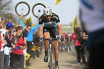 Stijn Vandenbergh (BEL) Etixx-Quick Step tackles Sector 10 Mons-en-Pevele during the 113th edition of the Paris-Roubaix 2015 cycle race held over the cobbled roads of Northern France. 12th April 2015.<br /> Photo: Eoin Clarke www.newsfile.ie