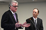 Attorney Mark Clayton, left, and Deputy Attorney General Michael Somps discuss online gaming before the Gaming Control Board in Carson City, Nev., on Wednesday, Dec. 7, 2011. .Photo by Cathleen Allison