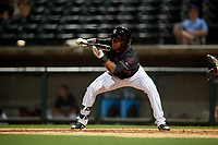 Birmingham Barons Luis Alexander Basabe (3) lays down a bunt during a Southern League game against the Chattanooga Lookouts on May 2, 2019 at Regions Field in Birmingham, Alabama.  Birmingham defeated Chattanooga 4-2.  (Mike Janes/Four Seam Images)
