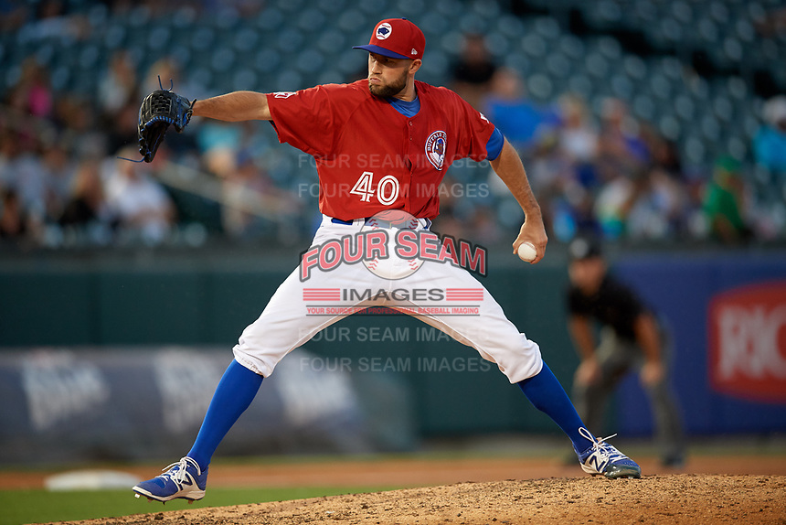 Buffalo Bisons relief pitcher Tim Mayza (40) delivers a pitch during a game against the Syracuse Chiefs on July 6, 2018 at Coca-Cola Field in Buffalo, New York.  Buffalo defeated Syracuse 6-4.  (Mike Janes/Four Seam Images)