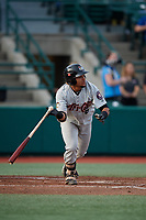 Tri-City ValleyCats Juan Paulino (16) bats during a NY-Penn League game against the Brooklyn Cyclones on August 17, 2019 at MCU Park in Brooklyn, New York.  Brooklyn defeated Tri-City 2-1.  (Mike Janes/Four Seam Images)