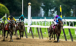 Sep 29: #7 Discreet Lover [black cap] takes advantage of quick early fractions as Manuel Franco guides his 45-1 shot to victory in the Jockey Gold Cup at Belmont Park in Elmont, N.Y.[Dan Heary/ Eclipse Sportswire/CSM].