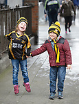 Ballyea  fans  Ellie Sheedy and Ethan Coleman on Jones' Road before the All-Ireland Club Hurling Final against Cuala at Croke Park. Photograph by John Kelly.