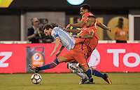 Action photo during the match Argentina vs Chile, Corresponding to Great Final of the America Centenary Cup 2016 at Metlife Stadium, East Rutherford, New Jersey.<br /> <br /> <br /> Foto de accion durante el partido Argentina vs Chile, correspondiente a la Gran Final de la Copa America Centenario 2016 en el  Metlife Stadium, East Rutherford, Nueva Jersey, en la foto: (i-d) Lionel Messi de Argentina, Arturo Vidal y Jean Beausejour de Chile<br /> <br /> <br /> 26/06/2016/MEXSPORT/David Leah.