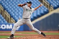 Dayton Dragons pitcher Nolan Becker (40) delivers a pitch during a game against the Lake County Captains on June 8, 2014 at Classic Park in Eastlake, Ohio.  Lake County defeated Dayton 4-2.  (Mike Janes/Four Seam Images)