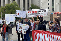 NEW YORK, NY- OCTOBER 12: View outside the Thurgood Marshall US Courthouse where a hearing for Kane versus de Blasio is taking place where teachers are suing against vaccine mandates stating that they are immoral and illegal in New York City on on October 12, 2021.  <br /> CAP/MPI/RMP<br /> ©RMP/MPI/Capital Pictures