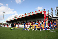 General view as the teams take to the pitch - Arsenal Ladies vs Lincoln Ladies - FA Womens Super League Continental Tyres Cup Semi-Final at Boreham Wood FC - 11/09/11 - MANDATORY CREDIT: Gavin Ellis/TGSPHOTO - Self billing applies where appropriate - 0845 094 6026 - contact@tgsphoto.co.uk - NO UNPAID USE.