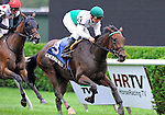 Emerald Beech (no. 3), ridden by Alex Solis and trained by Jonathan Sheppard, wins the 16th running of the grade 3 Glens Falls Stakes for fillies and mares three years old and upward on September 5, 2011 at Saratoga Race Track in Saratoga Springs, New York.  (Bob Mayberger/Eclipse Sportswire)