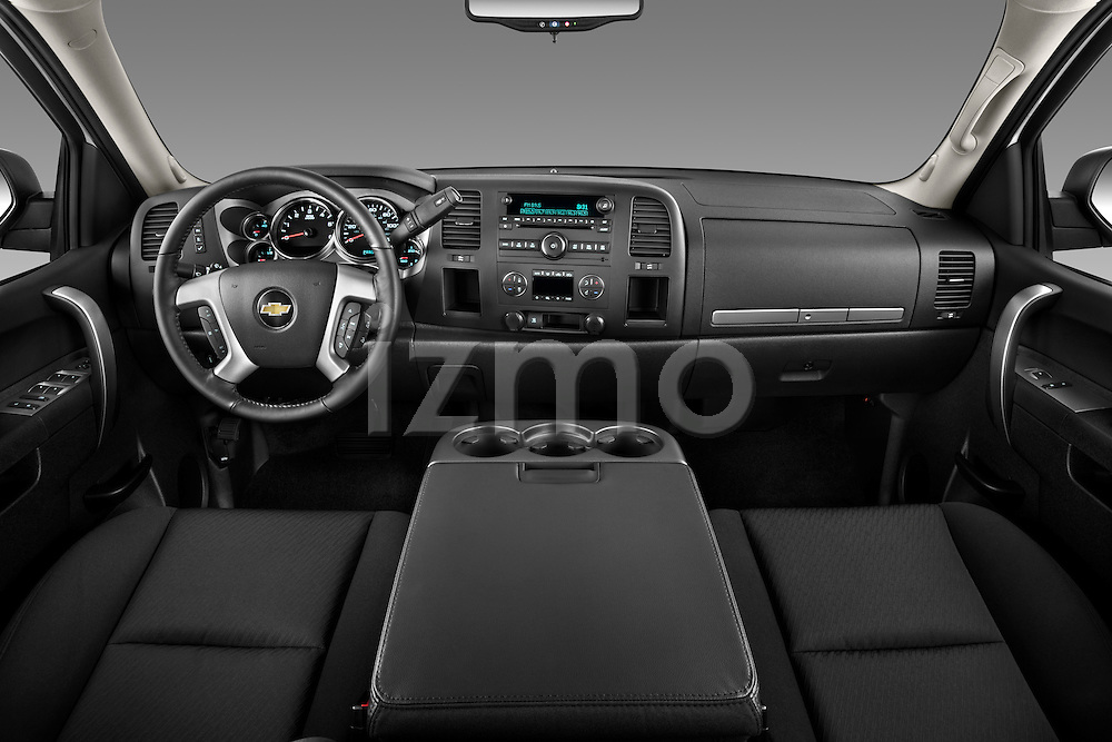Straight dashboard view of a 2011 Chevrolet Silverado 2500LT Crew Cab.