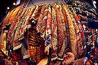Carpet display at the Grand Bazar Kapali Carsi Istanbul Turkey