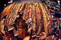 Carpet display at the Grand Bazar Kapali Carsi Istanbul Turkey