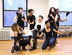 """Tony Yazbeck and cast during a Performance Sneak Peek of The MCP Production of """"The Scarlet Pimpernel"""" at Pearl Rehearsal studio Theatre on February 14, 2019 in New York City."""
