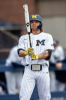 Michigan Wolverines outfielder Jordan Brewer (22) at the plate against the Rutgers Scarlet Knights on April 27, 2019 in the NCAA baseball game at Ray Fisher Stadium in Ann Arbor, Michigan. Michigan defeated Rutgers 10-1. (Andrew Woolley/Four Seam Images)