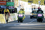 """Yellow Jersey Primoz Roglic (Slo) Jumbo-Visma crosses the finish line 3'08"""" down to lose the race after crashing twice during Stage 8 of Paris-Nice 2021, running 92.7km from Le Plan-du-Var to Levens, France. 14th March 2021.<br /> Picture: ASO/Fabien Boukla 