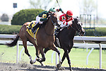 Pray for Grace with Corey Lanerie (green cap) in the 5th race at Keeneland Race Course. Lexington, KY. 04.14.2011