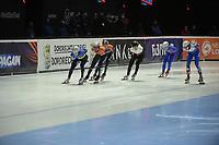 SPEEDSKATING: DORDRECHT: 05-03-2021, ISU World Short Track Speedskating Championships, QF 1500m Men, Oleh Handei (UKR), Sjinkie Knegt (NED), Itzhak de Laat (NED), Reinis Berzins (LAT), Julian Macaraeg (PHI), Konstantin Ivliev (RSU), ©photo Martin de Jong