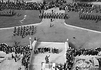 View from City Hall of the Honourable W.C. Woodward, <br /> British-Colombia's<br /> Lieutenant governor making address at ceremony marking Canada's entry into World War II.<br /> 10 September 1939