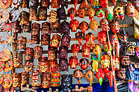 south America, Guatemala. Chichicastenango, maya masks in the market