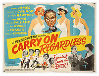 BNPS.co.uk (01202 558833)<br /> Pic: Ewbank's/BNPS<br /> <br /> Pictured: Carry On Regardless (1961) poster sold for £275. <br /> <br /> A saucy collection of more than 20 vintage film posters from the 'Carry On' films have sold for almost £10,000.<br /> <br /> The 30ins by 40ins British quad posters were used on cinema billboards to advertise the comedy movies from the 1960s and '70s.<br /> <br /> The colourful posters depict comedy actors like Sid James, Kenneth Williams and Barbara Windsor who regularly starred in the comedy caper franchise.