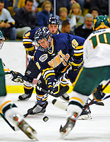 16 November 2008: Merrimack College Warriors' forward Kurtis Astle, a Sophomore from Port Coquitlam, B.C., in action against the University of Vermont Catamounts at Gutterson Fieldhouse, in Burlington, Vermont. The Catamounts defeated the Warriors 2-1 in front of a near-capacity crowd of 3,813...Mandatory Photo Credit: Ed Wolfstein Photo