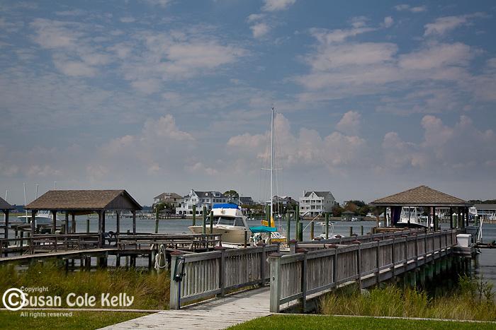 Piers bridge the saltwater marsh on the interstate waterway, Wrightsville Beach, New Hanover County, NC