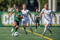 24 September 2016: Dartmouth College Big Green Defender/Midfielder Jonathan Nierenberg, a Junior from Sand Point, NY, battles University of Vermont Catamount Midfielder Jackson Dayton, a Senior from San Francisco, CA, at Virtue Field in Burlington, Vermont. The teams played to an overtime 1-1 tie in front of an Alumni Weekend crowd of 1,710 fans. Mandatory Credit: Ed Wolfstein Photo *** RAW (NEF) Image File Available ***