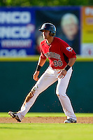 Joey Gallo (30) of the Hickory Crawdads takes his lead off of second base against the Kannapolis Intimidators at L.P. Frans Stadium on May 25, 2013 in Hickory, North Carolina.  The Crawdads defeated the Intimidators 14-3.  (Brian Westerholt/Four Seam Images)