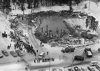 1980 FILE PHOTO - ARCHIVES -<br /> <br /> Les décombres suite a l' Incendie du Jour de l'an,1980, Chapais<br /> <br /> A few sticks of blackened wood and a hole in the ground are all that s left of the hall where 42 died when a man set fire to the decorations., Jan 1980<br /> <br /> PHOTO : Graham Bezant - Toronto Star Archives - AQP