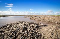 Potato soil heaps in flooded field corner - Lincolnshire, February