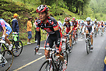 The peloton including Vasili Kiryienka (BLR) Caisse d'Epargne approach the summit of the Cat 1 climb at Col du Marie Blanque during a wet foggy Stage 17 of the 2010 Tour de France running 174km from Pau to Col du Tourmalet, France. 22nd July 2010.<br /> (Photo by Eoin Clarke/NEWSFILE).<br /> All photos usage must carry mandatory copyright credit (© NEWSFILE | Eoin Clarke)