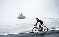 Alessandro Covi (ITA/UAE-Team Emirates) coming over the misty Passo Giau<br /> <br /> due to the bad weather conditions the stage was shortened (on the raceday) to 153km and the Passo Giau became this years Cima Coppi (highest point of the Giro).<br /> <br /> 104th Giro d'Italia 2021 (2.UWT)<br /> Stage 16 from Sacile to Cortina d'Ampezzo (shortened from 212km to 153km)<br /> <br /> ©kramon