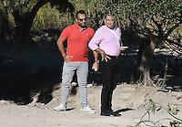 """FAO JANET TOMLINSON, DAILY MAIL <br /> Pictured: Stefanos Troumouhis (L) the owner of the field where special forensics police officers search in Kos, Greece. Friday 30 September 2016<br /> Re: Police teams searching for missing toddler Ben Needham on the Greek island of Kos have said they are """"optimistic"""" about new excavation work.<br /> Ben, from Sheffield, was 21 months old when he disappeared on 24 July 1991 during a family holiday.<br /> Digging has begun at a new site after a fresh line of inquiry suggested he could have been crushed by a digger.<br /> South Yorkshire Police (SYP) said it continued to keep an """"open mind"""" about what happened to Ben."""