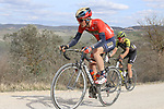 Andrea Garosio (ITA) Bahrain-Merida climbs sector 8 Monte Santa Maria during Strade Bianche 2019 running 184km from Siena to Siena, held over the white gravel roads of Tuscany, Italy. 9th March 2019.<br /> Picture: Seamus Yore   Cyclefile<br /> <br /> <br /> All photos usage must carry mandatory copyright credit (© Cyclefile   Seamus Yore)