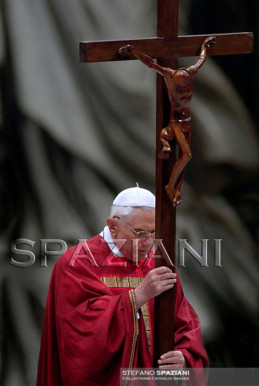 Pope Benedict XVI  the ceremony of the Good Friday Passion of the Lord Mass in Saint Peter's Basilica at the Vatican .April 6, 2007.
