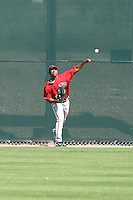 Wagner Mateo #18 of the Arizona Diamondbacks works out at the Diamondbacks spring training complex at Salt River Fields on March 13, 2011 in Scottsdale, Arizona. .Photo by:  Bill Mitchell/Four Seam Images.
