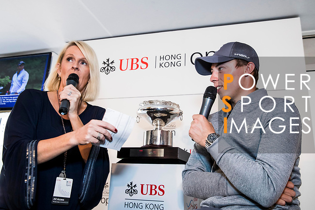 Matthew Fitzpatrick of England speaks to the fans at the UBS Pavillion during the day three of UBS Hong Kong Open 2017 at the Hong Kong Golf Club on 25 November 2017, in Hong Kong, Hong Kong. Photo by Yu Chun Christopher Wong / Power Sport Images