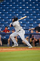 Mobile BayBears designated hitter Jose Rojas (25) follows through on a swing during a game against the Mississippi Braves on May 7, 2018 at Trustmark Park in Pearl, Mississippi.  Mobile defeated Mississippi 5-0.  (Mike Janes/Four Seam Images)