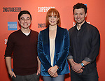 """Kyle McArthur, Kate Baldwin and Bryce Pinkham during the Sneak Peak Meet the cast and creative team of the World Premiere Musical """"Superhero"""" on January 16, 2019 at the Green Room 42 in New York City."""