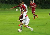 22nd August 2020; Saalfelden, Austria; Pres-season football friendly, Liverpool versus Stuttgart;  Roberto Firminho FC Liverpool held off by Gonzalo Castro VfB Stuttgart