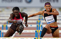 Golden Gala di atletica leggera allo stadio Olimpico di Roma, 6 giugno 2013.<br /> Dawn Harper-Nelson, of the United States, left, clears a hurdle past her compatriot Lolo Jones on her way to win the 100 meters hurdles race at the Golden Gala IAAF athletics meeting at Rome's Olympic stadium, 6 June 2013.<br /> UPDATE IMAGES PRESS/Riccardo De Luca